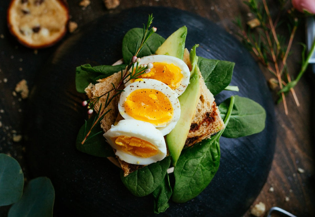 High protein breakfast with hard boiled eggs