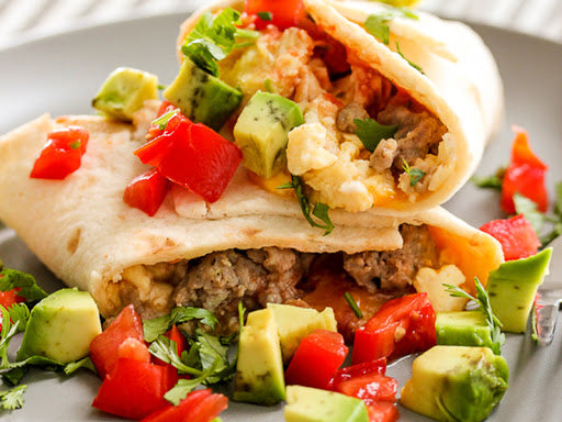 Low-carb breakfast burritos