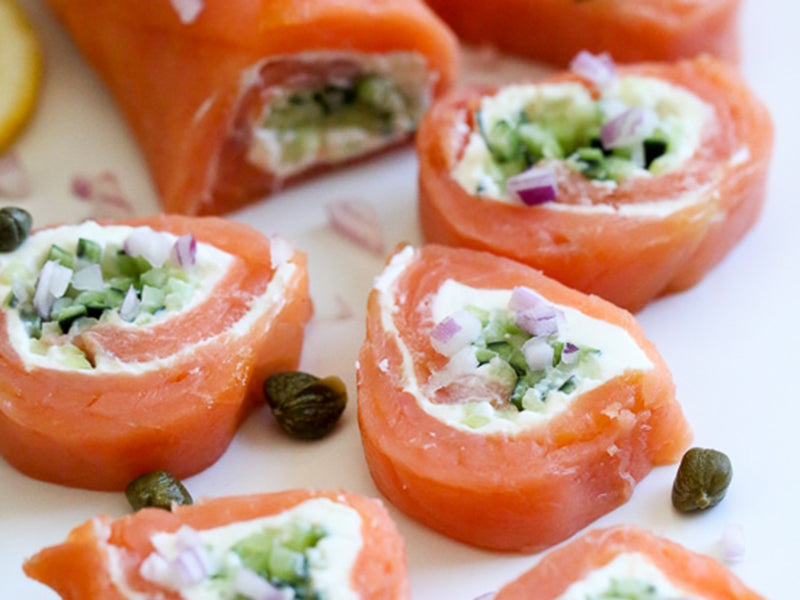 Diabetic breakfast salmon pinwheels
