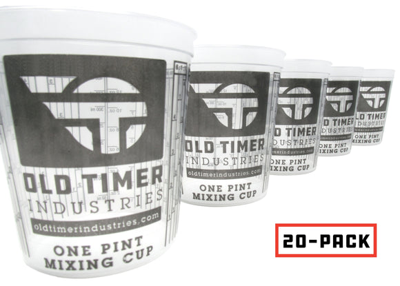 20 Pack of One-Pint, Paint and Epoxy Safe, Mixing Cups with Calibrated Mixing Ratios on the Sides of the Cups.