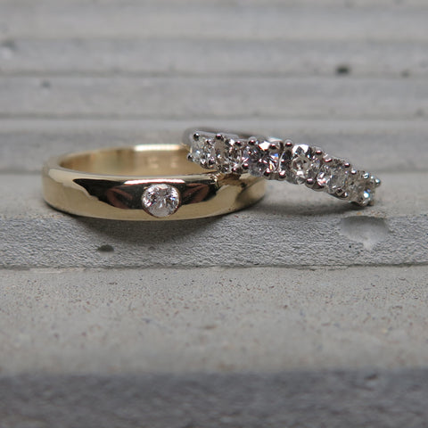 esther weinberg jewellery wedding rings recycled yellow gold and diamonds