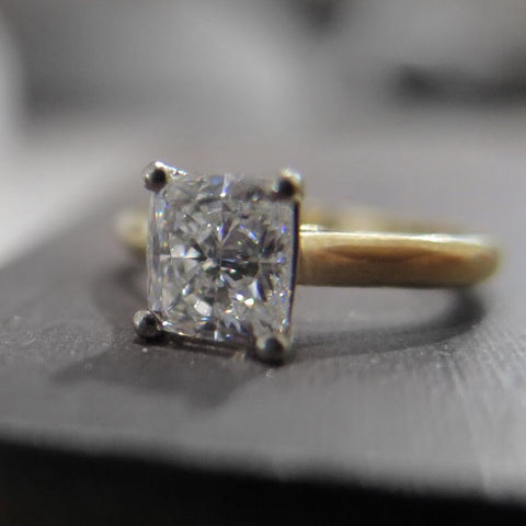 Cushion Cut Diamond Solitaire Engagement ring white and yellow gold