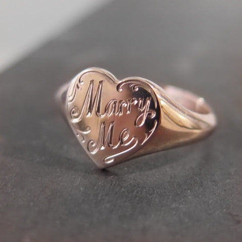 Marry Me engraved on Heart Signet