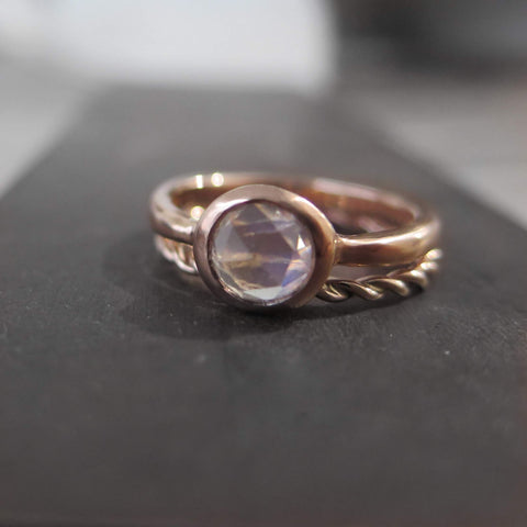 Rose cut Moonstone bezel set and twist ring in rose gold.