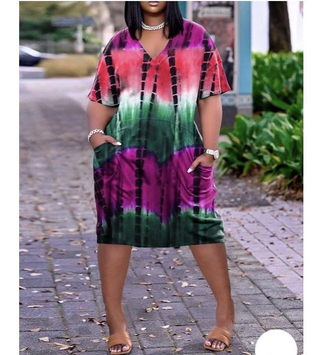 Pocket Tie Dye Dress (avail in Plus Size)