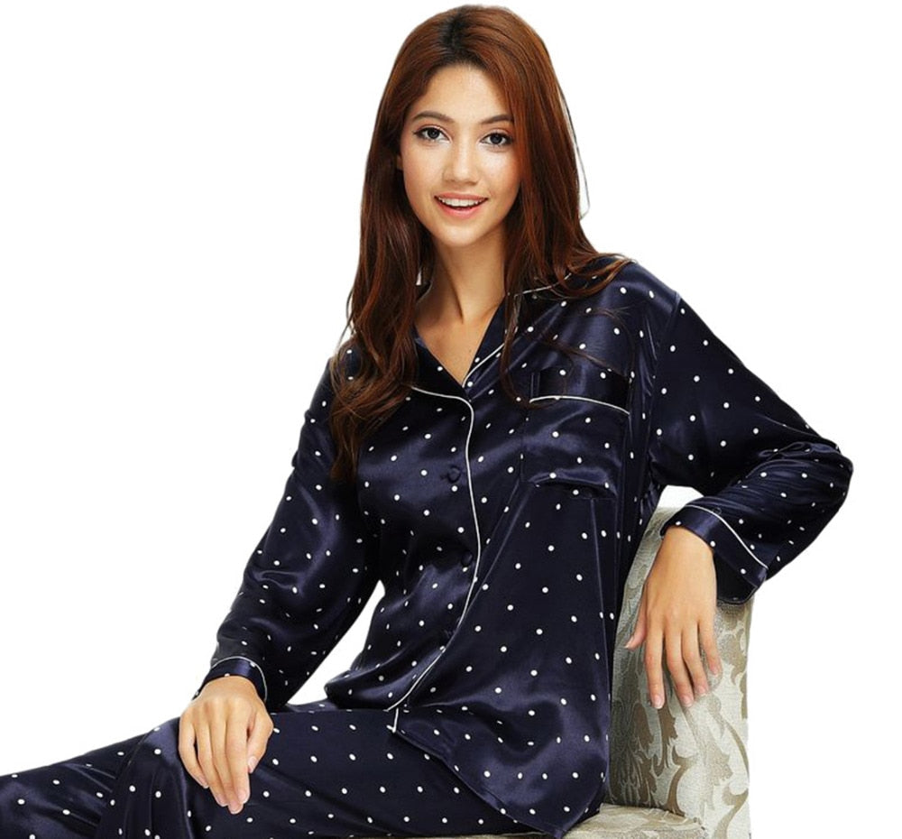 Faux Silk Pajamas Set- Plus Sizes Avail.