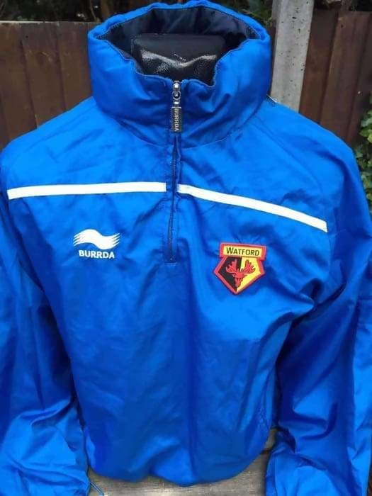 Vintage Watford Football Training Top Shirt Jacket by Burrda Hooded Rare - Apparel