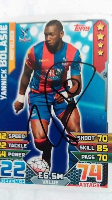 Yannick Bolasie Crystal Palace Signed Match Attax - Memorabilia