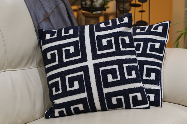 Set of handmade pillow covers in blue thread work geometric pattern