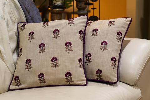 Pillow Cover - Set of two flower embroidery
