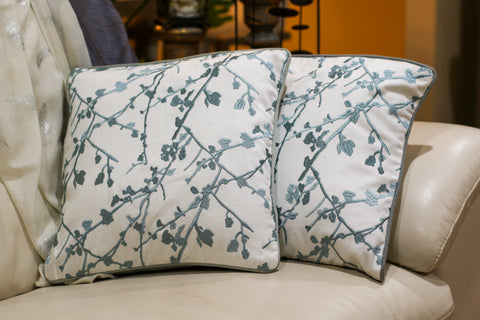 Pillow Cover - Set of two blue embroidery