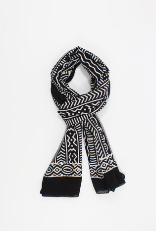 Black and White Handmade Block Print  Sarong/Scarf