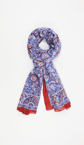 Blue and Red  Handmade Block Print Cotton Sarong