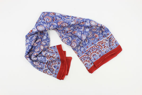 Blue and Red  Handmade Block Print Cotton