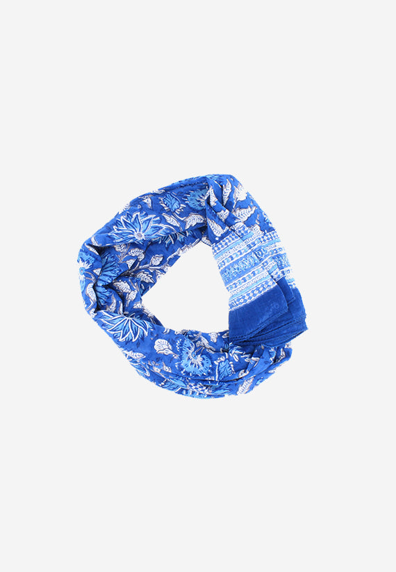 Cotton Sarong Floral handblock scarf blue and white