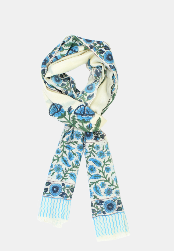 Cashmere Wrap with hand block print blue floral print. on white base