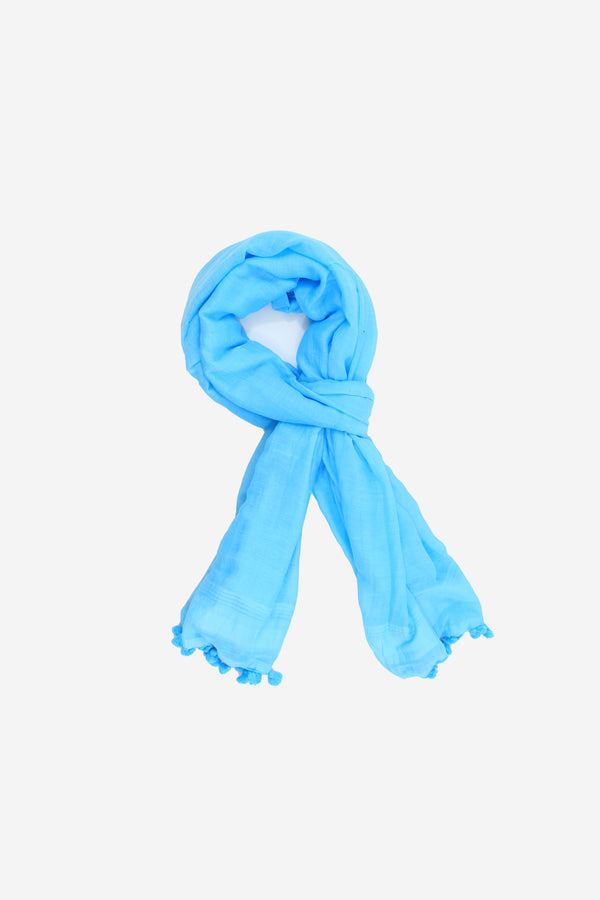 Hand Loomed Cotton Tassel Scarf  Blue