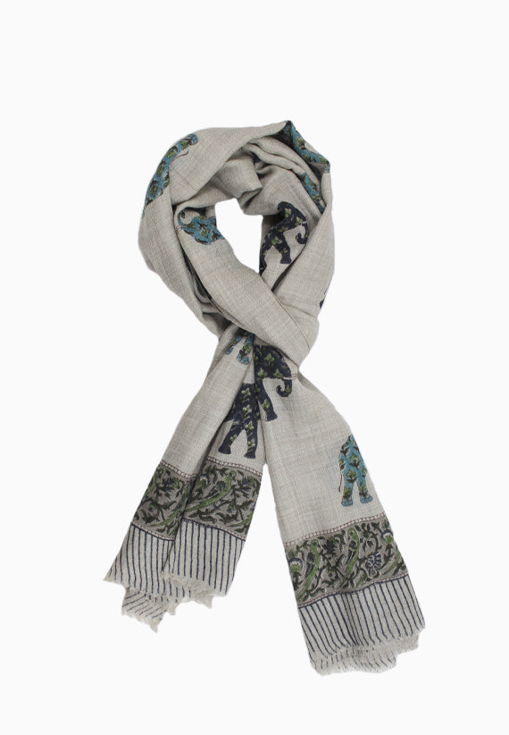 Cashmere Wrap with hand block elephant motif on grey base