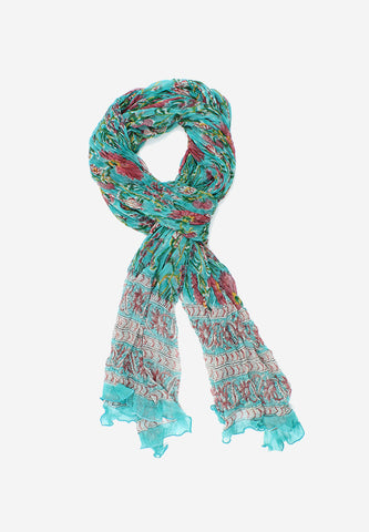 Chiffon handmade beautiful sea green handblock scarf