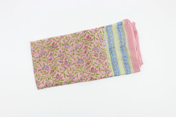 Pastel Pink Handmade Block Print Cotton-New