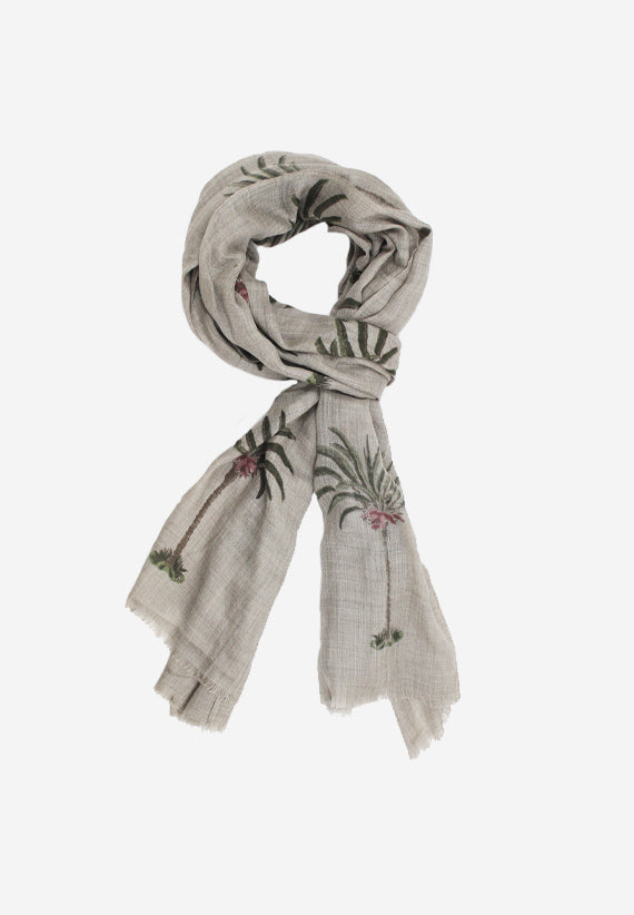Cashmere Wrap with hand block print palm tree motif on grey base