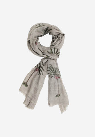 Cashmere Hand Block-Beautiful Palm Tree Motif Scarf