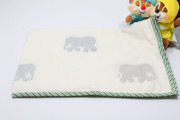 Hand block Elephant Print Baby Blanket in Cotton