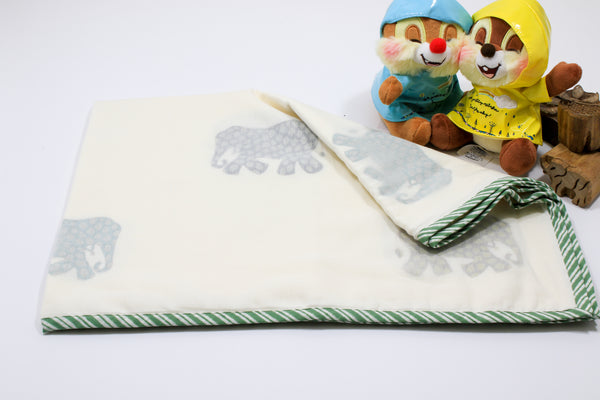 Soft cotton hand-block Elephant print baby blanket with green border