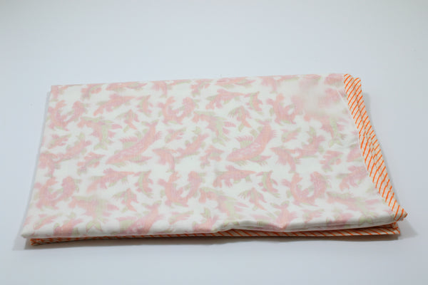 Soft and light cotton hand-block Fish print baby blanket with orange border