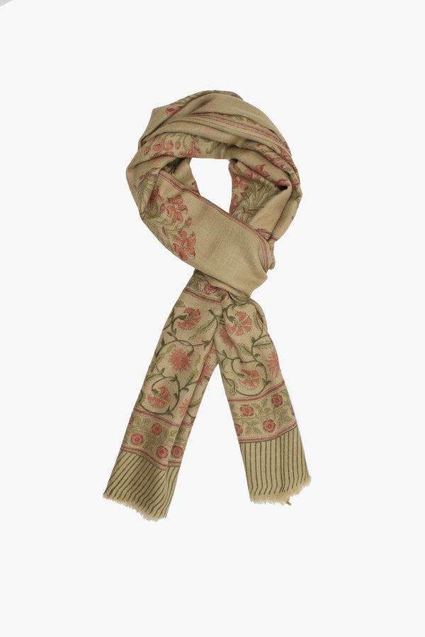 Cashmere Hand-block scarf with a subtle golden brown base and red floral print