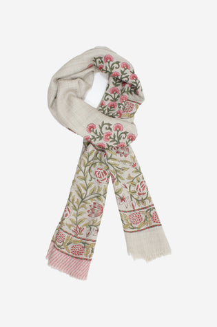 Cashmere Hand Block-Beautiful Floral Motif Scarf