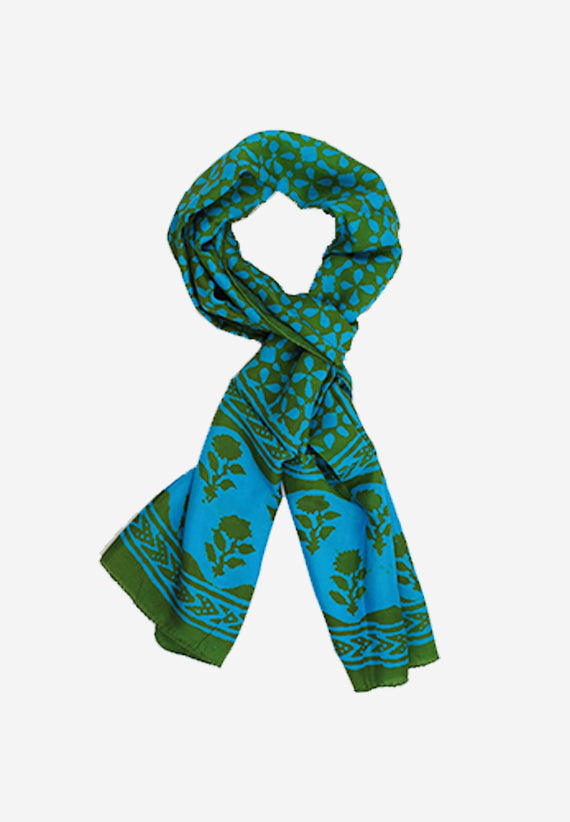 Beautiful hand block print silk scarf floral print in in stunning sea green made with natural dyes