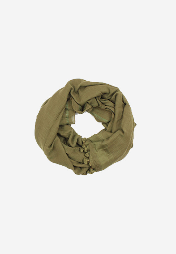 Handloomed Cotton Green pompom Scarf