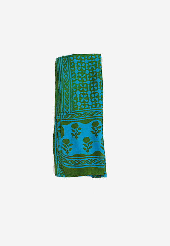 Handmade Silk Block Print Natural Dyes Green
