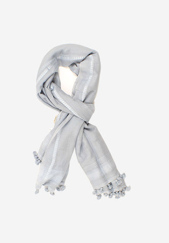 Hand loomed Cotton Grey Tassel Scarf