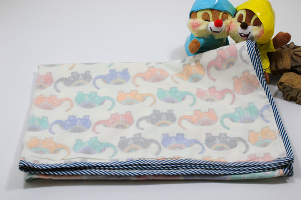 Hand block Small Elephant Print Baby Blanket in Cotton