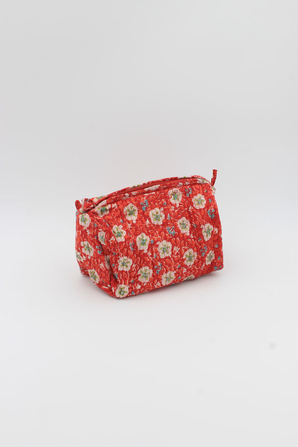 Vibrant Orange Marigold hand block print make up bag .