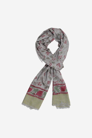 Cashmere Hand Block all over floral Motif Scarf