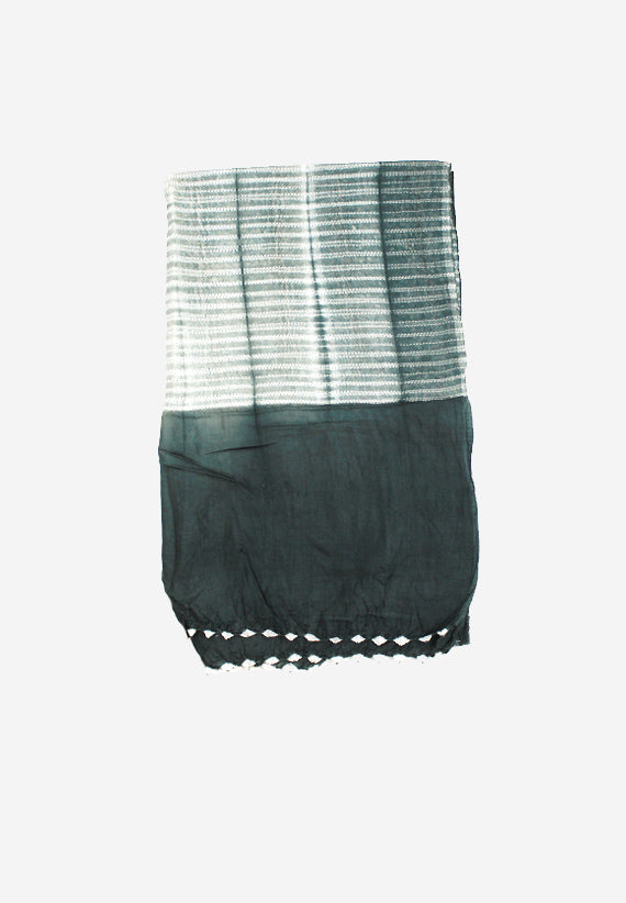 Silk Shibori handmade Light Grey scarf