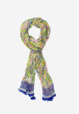 Handmade Chiffon Block Print Lime and Blue