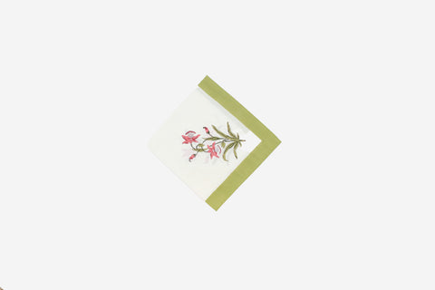 Tea Towel green border floral motif