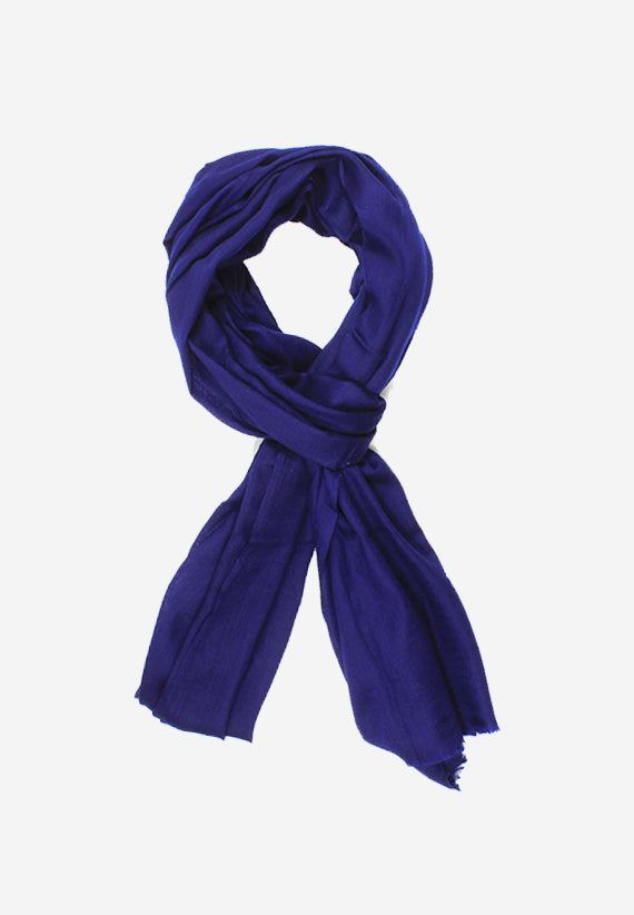 Lightweight Warm Cashmere Scarf in Navy Blue .