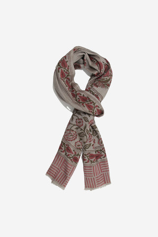 Cashmere Hand Block Red Paisley Motif Scarf