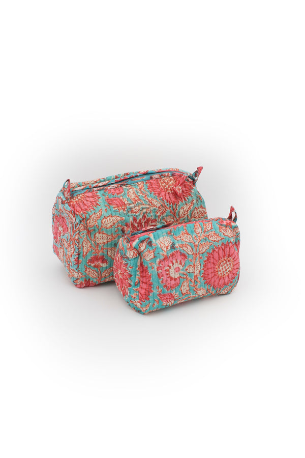 Set of two Cotton hand-block make up bag with two inside pockets in green and pink floral print.