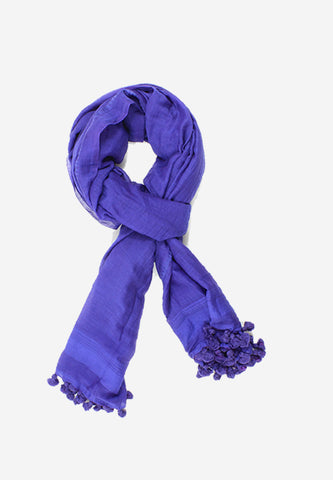 Handloomed Cotton Purple Tassel Scarf