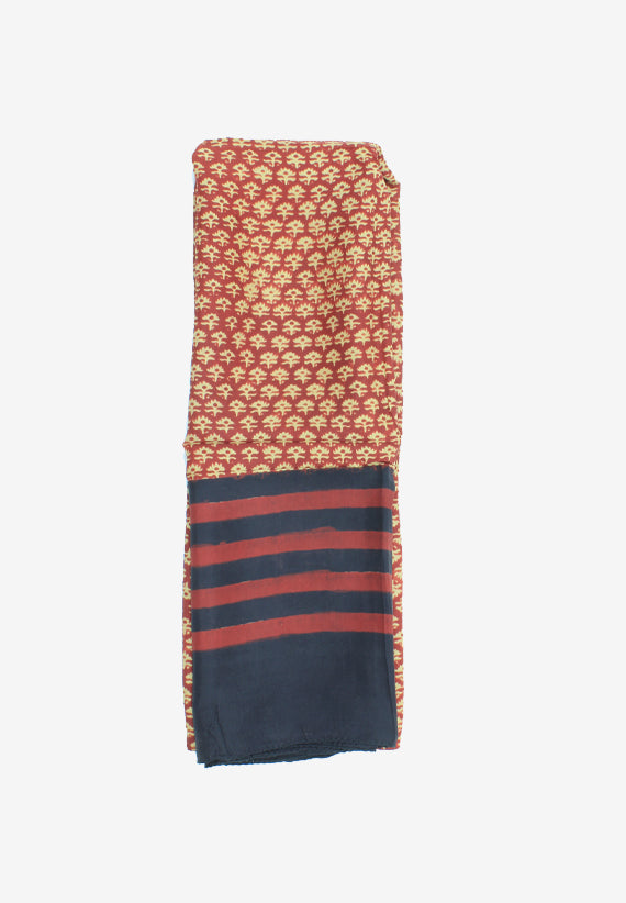 Handmade Silk Block Print Natural Dyes Red Scarf
