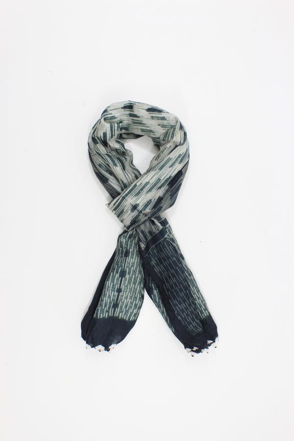 Shibori silk handmade gray and white Scarf