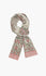 Warm Cashmere hand-block scarf on grey with floral motifs.