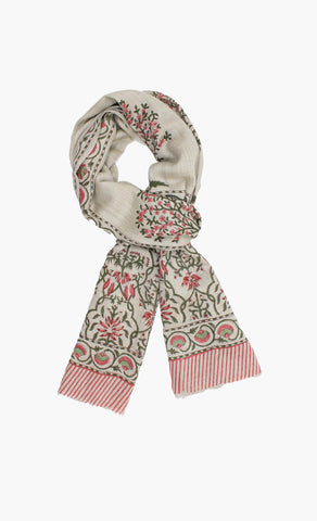Cashmere Hand Block-Beautiful Tree of Life Motif Scarf