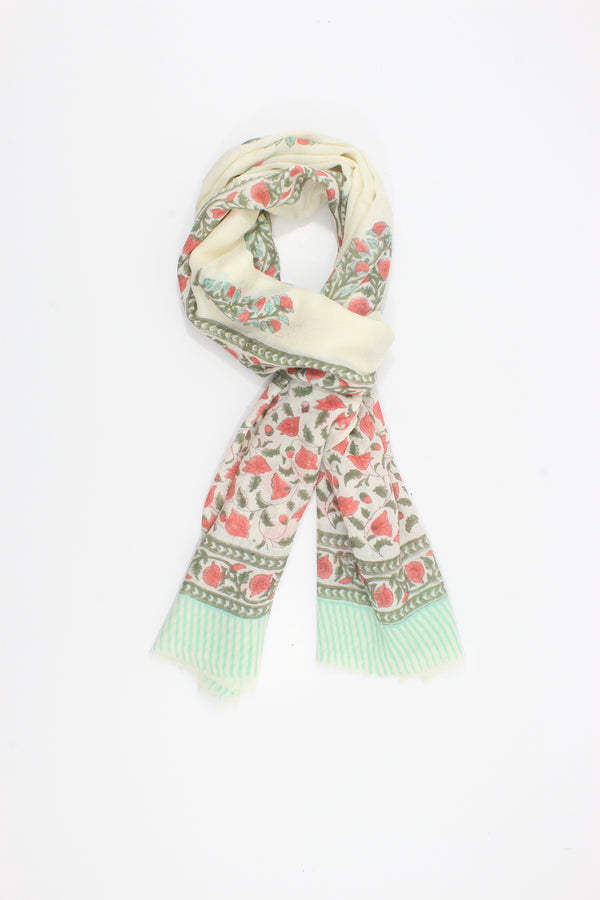 Cashmere Wrap with hand block print mint green pink print.